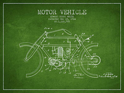 Bike Drawing - 1914 Motor Vehicle Patent - Green by Aged Pixel