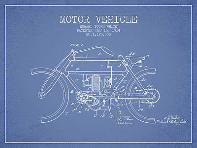 Bike Drawing - 1914 Motor Vehicle Patent - Light Blue by Aged Pixel