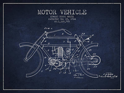 Bike Drawing - 1914 Motor Vehicle Patent - Navy Blue by Aged Pixel