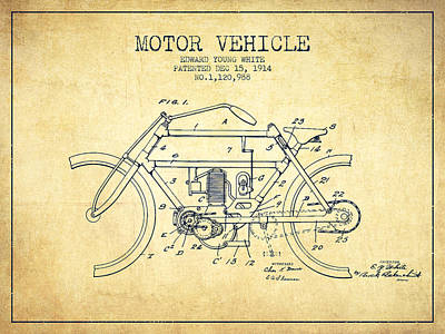 Bike Drawing - 1914 Motor Vehicle Patent - Vintage by Aged Pixel