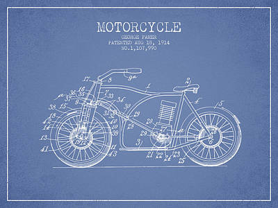 Bike Drawing - 1914 Motorcycle Patent - Light Blue by Aged Pixel