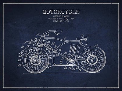 Bike Drawing - 1914 Motorcycle Patent - Navy Blue by Aged Pixel
