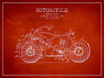 Bike Drawing - 1914 Motorcycle Patent - Red by Aged Pixel