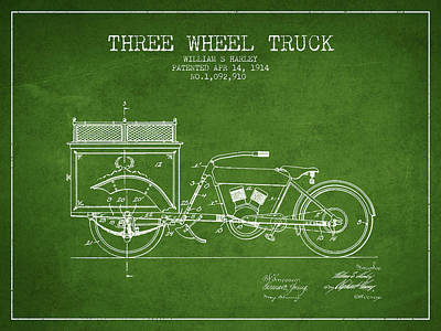 Bike Drawing - 1914 Three Wheel Truck Patent - Green by Aged Pixel