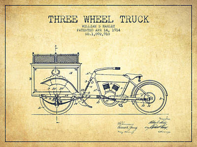 Bike Drawing - 1914 Three Wheel Truck Patent - Vintage by Aged Pixel