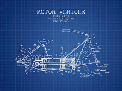Bike Drawing - 1915 Motor Vehicle Patent - Blueprint by Aged Pixel