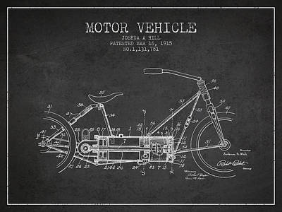 Bike Drawing - 1915 Motor Vehicle Patent - Charcoal by Aged Pixel