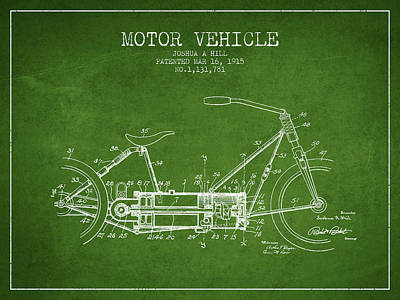 Bike Drawing - 1915 Motor Vehicle Patent - Green by Aged Pixel