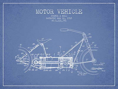 Bike Drawing - 1915 Motor Vehicle Patent - Light Blue by Aged Pixel
