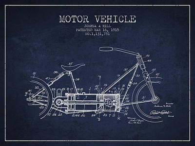 Bike Drawing - 1915 Motor Vehicle Patent - Navy Blue by Aged Pixel