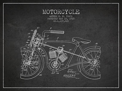 Bike Drawing - 1915 Motorcycle Patent - Charcoal by Aged Pixel