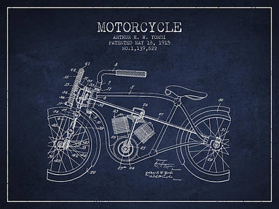 Bike Drawing - 1915 Motorcycle Patent - Navy Blue by Aged Pixel