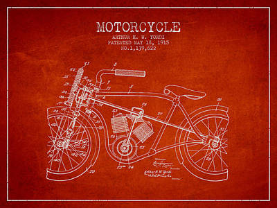 Bike Drawing - 1915 Motorcycle Patent - Red by Aged Pixel