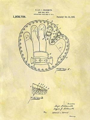 Hand Thrown Drawing - 1916 Baseball Glove Patent by Dan Sproul