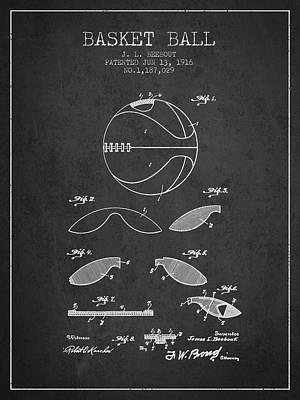 1916 Basket Ball Patent - Charcoal Print by Aged Pixel