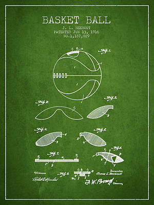 1916 Basket Ball Patent - Green Print by Aged Pixel