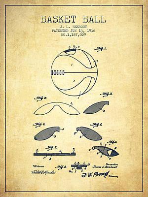 1916 Basket Ball Patent - Vintage Print by Aged Pixel