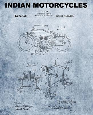 Motorcycle Mixed Media - 1916 Grunge Indian Motorcycle Patent by Dan Sproul