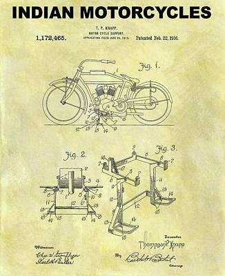 Motorcycle Mixed Media - 1916 Indian Motorcycle Patent by Dan Sproul