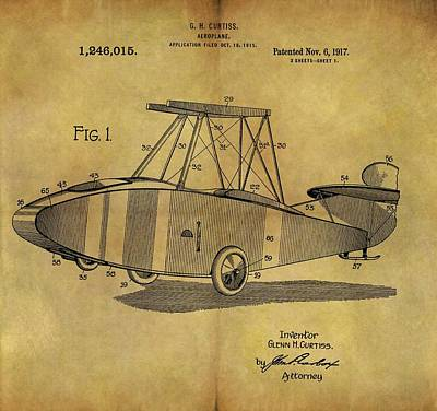 Airplane Mixed Media - 1917 Airplane Patent by Dan Sproul