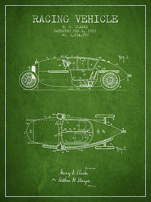Auto Drawing - 1917 Racing Vehicle Patent - Green by Aged Pixel