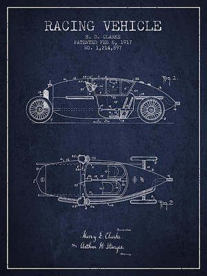 Auto Drawing - 1917 Racing Vehicle Patent - Navy Blue by Aged Pixel