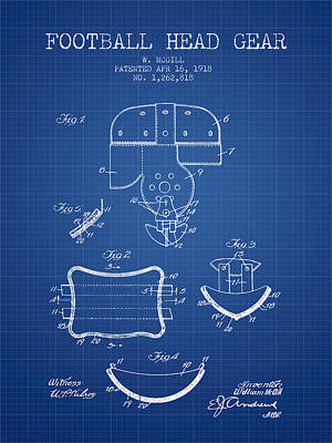 Football Art Drawing - 1918 Football Head Gear Patent - Blueprint by Aged Pixel