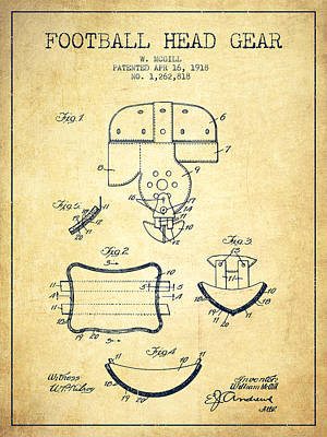 Football Art Drawing - 1918 Football Head Gear Patent - Vintage by Aged Pixel