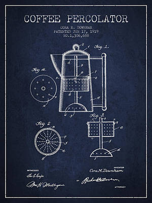 Drawing Of Lovers Drawing - 1919 Coffee Percolator Patent - Navy Blue by Aged Pixel
