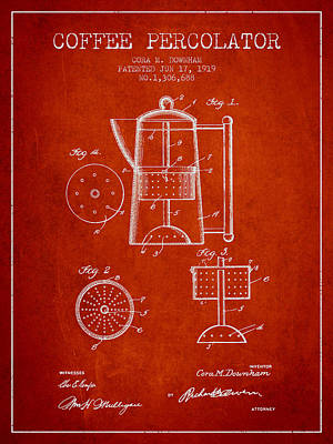 Restaurant Art Drawing - 1919 Coffee Percolator Patent - Red by Aged Pixel