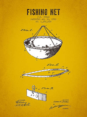 1920 Fishing Net Patent - Yellow Brown Print by Aged Pixel