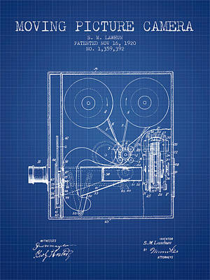 1920 Moving Picture Camera Patent - Blueprint Print by Aged Pixel
