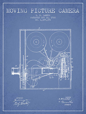 1920 Moving Picture Camera Patent - Light Blue Print by Aged Pixel