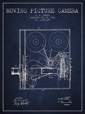 Camera Drawing - 1920 Moving Picture Camera Patent - Navy Blue by Aged Pixel