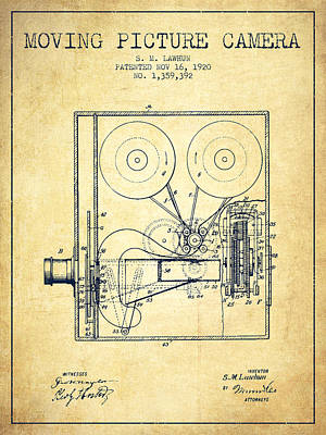 1920 Moving Picture Camera Patent - Vintage Print by Aged Pixel