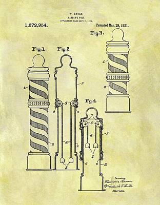 1921 Barber Pole Patent Print by Dan Sproul