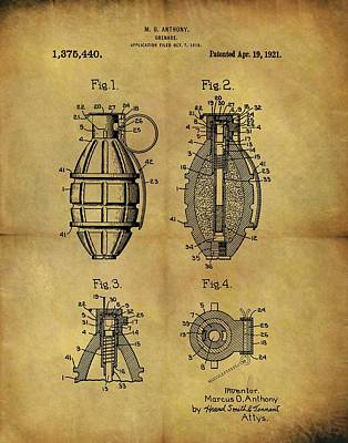 Infantryman Drawing - 1921 Grenade Patent by Dan Sproul
