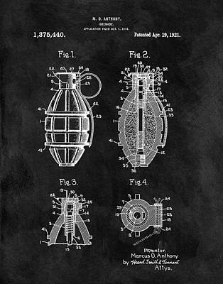 Infantryman Drawing - 1921 Hand Grenade Patent Illustration by Dan Sproul