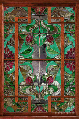 Glass Wall Painting - 1922 Art Nouveau Stained Glass Panel by Mindy Sommers