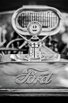 Photograph - 1922 Ford T-bucket Hood Ornament - Emblem -0630bw by Jill Reger