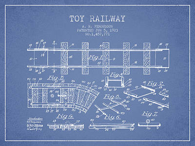 Transportation Drawing - 1923 Toy Railway Patent - Light Blue by Aged Pixel