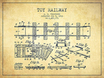 Train Drawing - 1923 Toy Railway Patent - Vintage by Aged Pixel