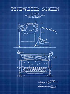 1923 Typewriter Screen Patent - Blueprint Print by Aged Pixel