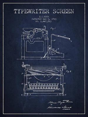 1923 Typewriter Screen Patent - Navy Blue Print by Aged Pixel
