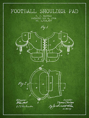 Football Art Drawing - 1924 Football Shoulder Pad Patent - Green by Aged Pixel