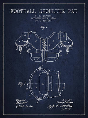 Football Art Drawing - 1924 Football Shoulder Pad Patent - Navy Blue by Aged Pixel