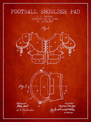 Football Art Drawing - 1924 Football Shoulder Pad Patent - Red by Aged Pixel
