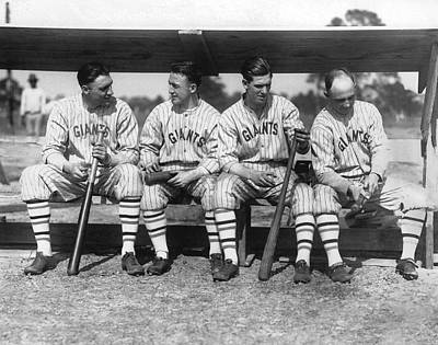 Benches Photograph - 1924 Ny Giants Baseball Team by Underwood Archives