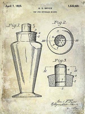 Tequila Photograph - 1925 Cocktail Shaker Patent  by Jon Neidert