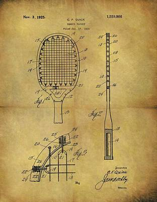 Tennis Drawing - 1925 Tennis Racket Patent by Dan Sproul